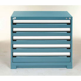 Rousseau Modular Storage Drawer Cabinet 48x24x32, 5 Drawers (2 Sizes) w/o Divider, w/Lock, Blue