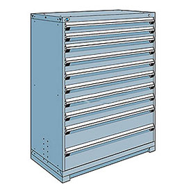 Rousseau Modular Storage Drawer Cabinet 48x24x60, 10 Drawers (3 Sizes) w/o Divider, w/Lock, Blue