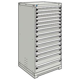 Rousseau Modular Storage Drawer Cabinet 30x27x60, 14 Drawers (3 Sizes) w/o Divider, w/Lock, Gray