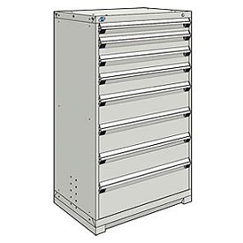 Rousseau Modular Storage Drawer Cabinet 36x24x60, 8 Drawers (5 Sizes) w/o Divider, w/Lock, Gray