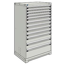 Rousseau Modular Storage Drawer Cabinet 36x24x60, 12 Drawers (4 Sizes) w/o Divider, w/Lock, Gray