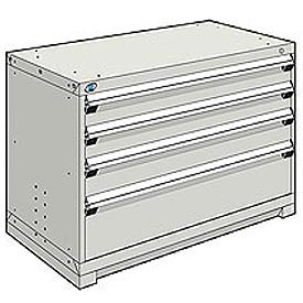 Rousseau Modular Storage Drawer Cabinet 48x24x32, 4 Drawers (3 Sizes) w/o Divider, w/Lock, Gray
