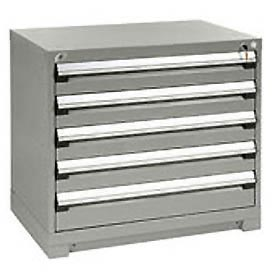 Rousseau Modular Storage Drawer Cabinet 48x24x32, 5 Drawers (2 Sizes) w/o Divider, w/Lock, Gray