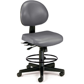 OFM 24 Hour Ergonomic Armless Task Chair with Drafting Kit, Antimicrobial Vinyl, Mid Back, Charcoal