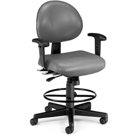 OFM Antimicrobial Stool with Arms - Vinyl - Gray
