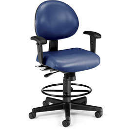 OFM Antimicrobial Stool with Arms - Vinyl - Blue