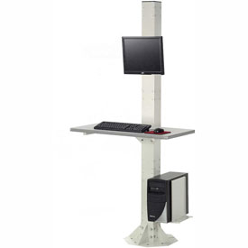 "81""H Stationary Floor Mount Orbit Computer Station with VESA LCD Mount - Beige"