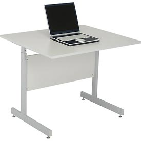 "Computer Desk/Table 36""x30"" with 26"" to 28"" Height Adjustability - Gray"
