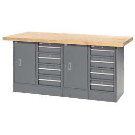 "72""W x 30""D Maple Top 8 Drawer/2 Cabinet Workbench"