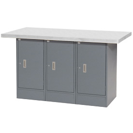 "60""W x 30""D Plastic Top 3 Cabinet Workbench"