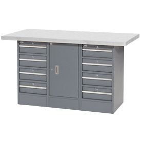 "60""W x 30""D Plastic Top 8 Drawer/1 Cabinet Workbench"