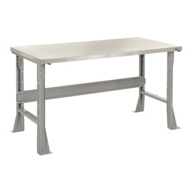"""48""""W X 30""""D X 34""""H Stainless Steel Square Edge Workbench - Gray"""