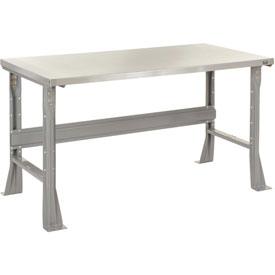 "72""W X 30""D X 34""H Stainless Steel Square Edge Workbench - Gray"