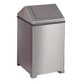 Rubbermaid® 14 Gallon Square Stainless Steel Waste Receptacle, FGT1414SSRB