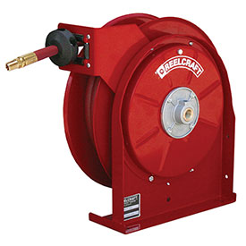 "Reelcraft 5450 OLP 1/4"" x 50' 300PSI All Steel Compact Retractable Hose Reel For Air/Water"