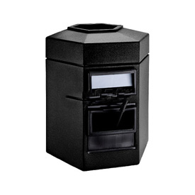 Single-Sided 35 Gallon Waste Windshield Center - Black