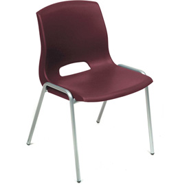 Stack Chairs - Plastic - Burgundy - Merion Collection - Pkg Qty 4