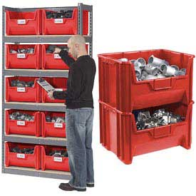 Steel Boltless Wood Deck Shelving With 10 Plastic Hopper Bins Red, 42x15x84