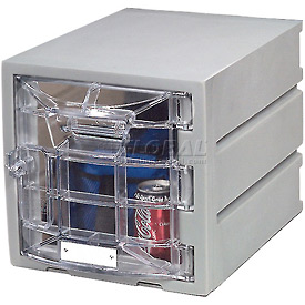 Box Plastic Locker with Clear Door for 6 Tier - Flat Top 12 X 15 X 12 Gray