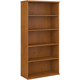 Double Bookcase In Natural Cherry - Office Furniture Groupings