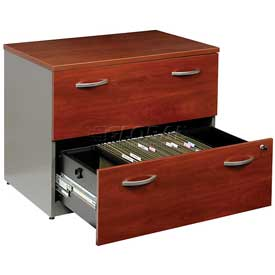 Bush Furniture Lateral File Cabinet, 2 Drawer with Double Handle Pulls - Hansen Cherry - Series C