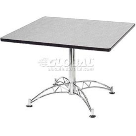 "OFM 42"" Multi-Purpose Square Table with Chrome-Plated Steel Base, Gray Nebula"