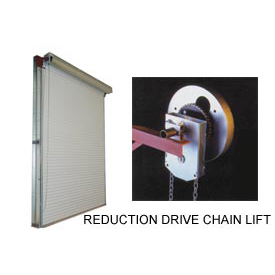 DBCI 8 x 10 White 2000 Series Roll-Up Dock Door with 4:1 Reduction Drive Chain Lift