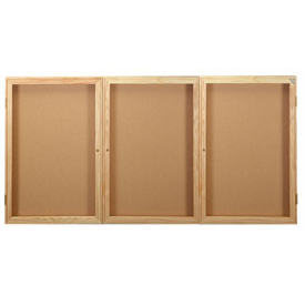 "United Visual Products Bulletin Board Wood Frame Three Door 72""W x 48""H"