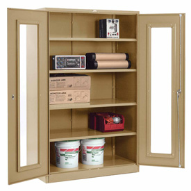 Global™ Clear View Storage Cabinet Easy Assembly 48x24x78 - Tan