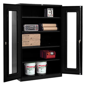 Global™ Clear View Storage Cabinet Easy Assembly 48x24x78 - Black