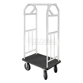 Glaro Bellman Hotel Cart 35x24 Satin Aluminum with Black Carpet & Rubber Wheels