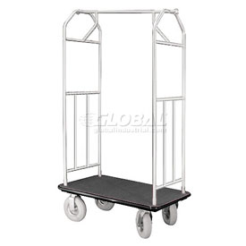 Glaro Bellman Hotel Cart 35x24 Satin Aluminum with Black Carpet & Pneu. Wheels