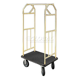 Glaro Bellman Hotel Cart 35x24 Satin Brass with Black Carpet & Rubber Wheels