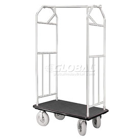 Glaro Bellman Hotel Cart 41x24 Satin Aluminum with Black Carpet & Pneu. Wheels