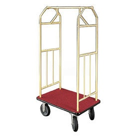 Glaro Bellman Hotel Cart 41x24 Satin Brass with Burgundy Carpet & Rubber Wheels