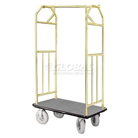 Glaro Bellman Hotel Cart 41x24 Satin Brass with Gray Carpet & Pneu. Wheels