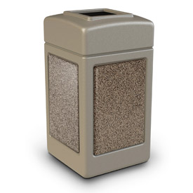 42 Gallon StoneTec® 720315 Square Waste Receptacle - Beige With Riverstone Panels