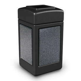 42 Gallon StoneTec® 720313 Square Waste Receptacle - Black With Pepperstone Panels