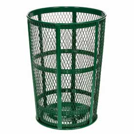 Outdoor Metal Trash Container Green, 48 Gallon