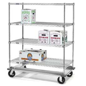 Nexel® E-Z Adjust Wire Shelf Truck with Dolly Base 36x18x70 1600 Lb. Cap.