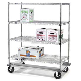 Nexel® E-Z Adjust Wire Shelf Truck with Dolly Base 48x18x70 1600 Lb. Cap.