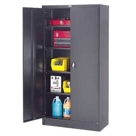 """Global™ Steel Storage Cabinet Recessed Handle 36""""W x 18""""D x 72""""H Black Easy Assembly"""