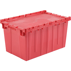 Plastic Storage Totes - Shipping Hinged Lid  DC2515-14 24-1/2 x 14-7/8 x 13-3/4 Red