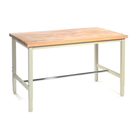 "60""W x 36""D Production Workbench - Maple Butcher Block Safety Edge - Tan"