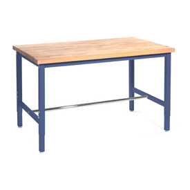 "96""W x 36""D Production Workbench - Maple Butcher Block Square Edge - Blue"