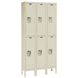 Hallowell U3256-2A-PT Premium Locker Double Tier 12x15x30 6 Door Assembled Parchment