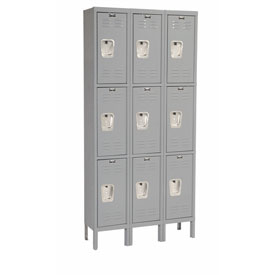 Hallowell U3228-3A-HG Premium Locker Triple Tier 12x12x24 9 Door Assembled Gray