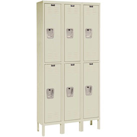 Hallowell U3226-2PT Premium Locker Double Tier 12x12x30 6 Door Ready To Assemble Parchment