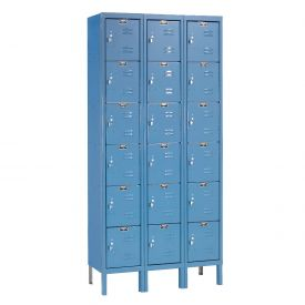 Hallowell U3228-6A-MB Premium Locker Six Tier 12x12x12 18 Door Assembled Blue