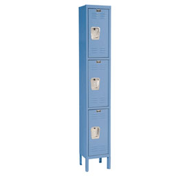 Hallowell U1228-3MB Premium Locker Triple Tier 12x12x24 3 Door Ready To Assemble Blue